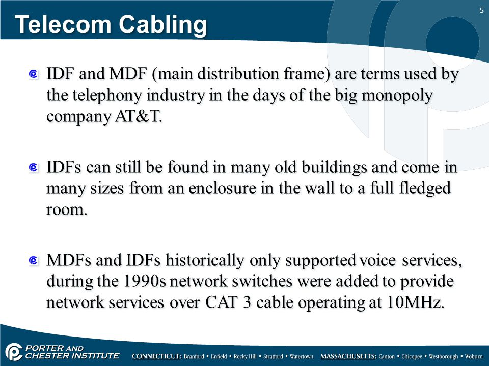5 Telecom Cabling IDF and MDF (main distribution frame) are terms used by the telephony industry in the days of the big monopoly company AT&T. IDFs ca