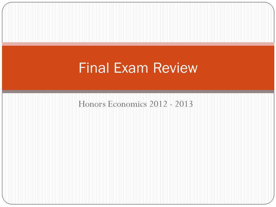 Honors Economics 2012 - 2013 Final Exam Review