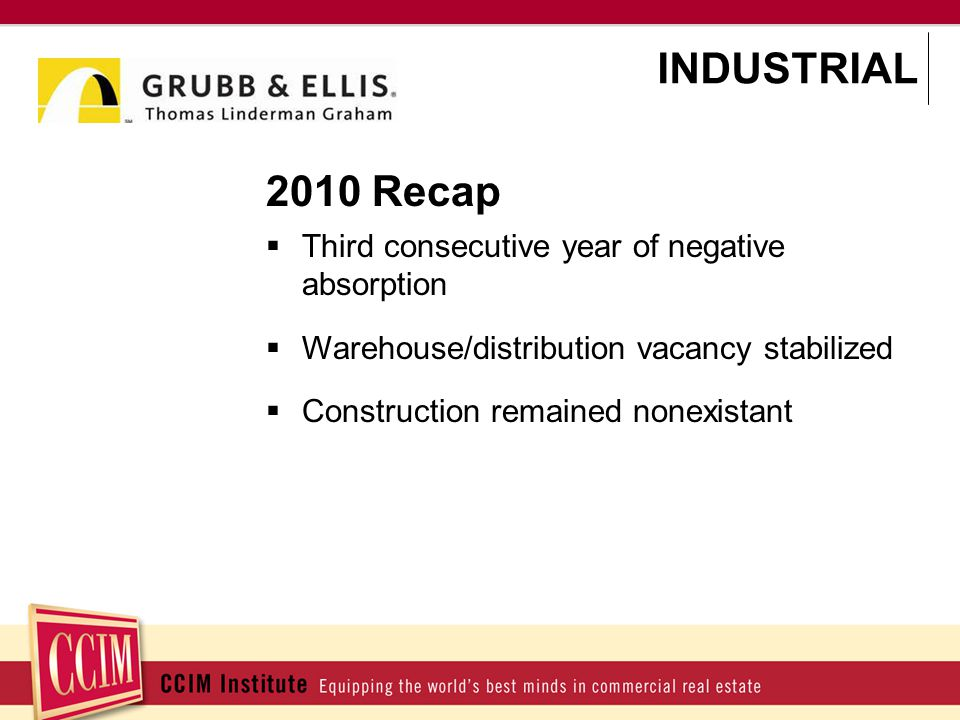 2010 Recap Third consecutive year of negative absorption Warehouse/distribution vacancy stabilized Construction remained nonexistant INDUSTRIAL