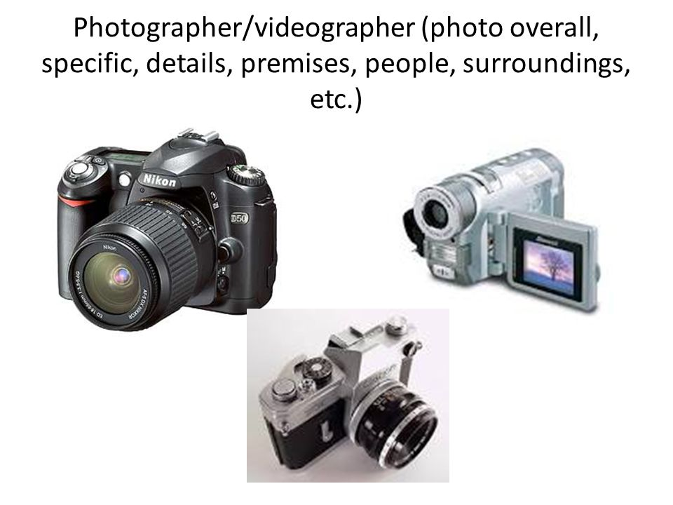 Photographer/videographer (photo overall, specific, details, premises, people, surroundings, etc.)