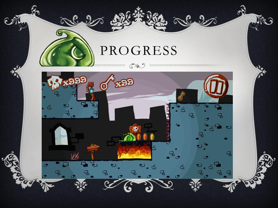 PROGRESS Started at May, 2013 Made slow progress during the summer Where we are: Design: Tutorial level finished Art: Mockup and all the concepts finished Code: Main character basic functions finished