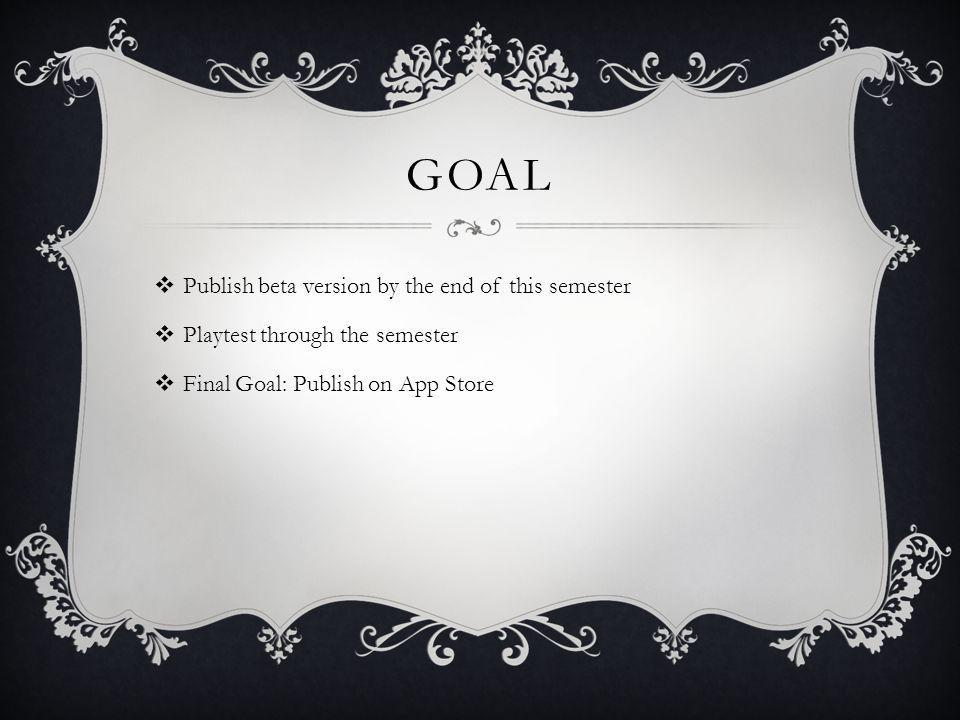GOAL Publish beta version by the end of this semester Playtest through the semester Final Goal: Publish on App Store