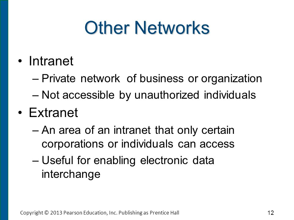 Other Networks Intranet – –Private network of business or organization – –Not accessible by unauthorized individuals Extranet – –An area of an intrane