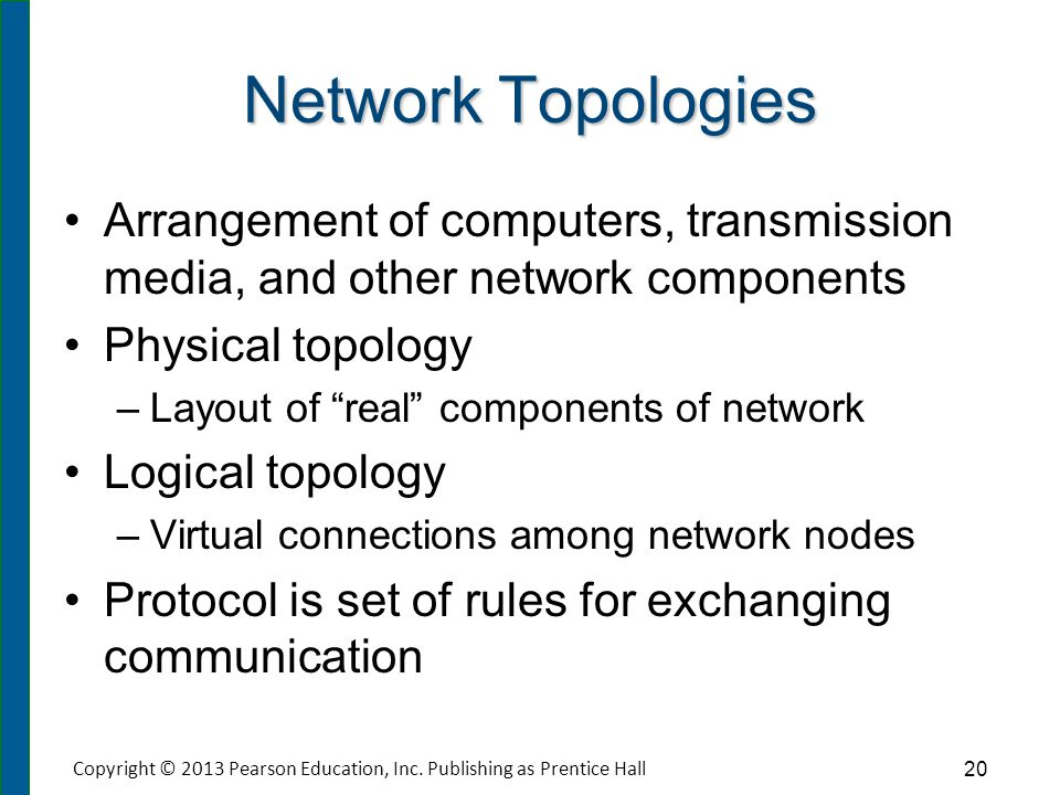 Network Topologies Arrangement of computers, transmission media, and other network components Physical topology – –Layout of real components of networ