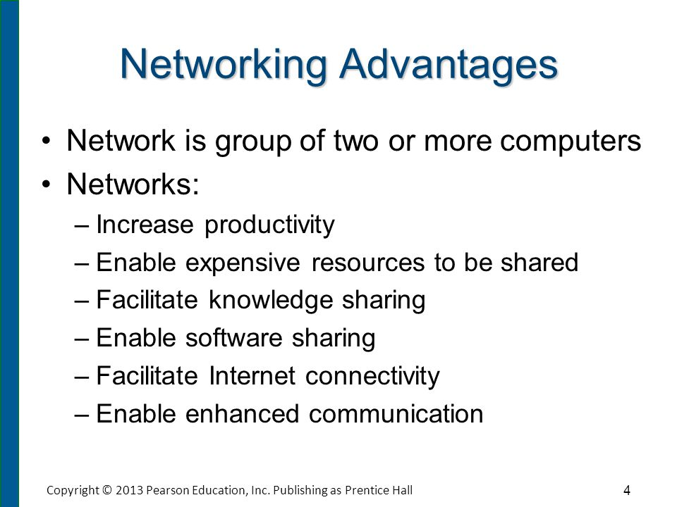 Networking Advantages Network is group of two or more computers Networks: – –Increase productivity – –Enable expensive resources to be shared – –Facil
