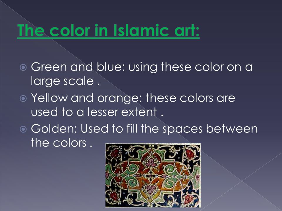 Green and blue: using these color on a large scale. Yellow and orange: these colors are used to a lesser extent. Golden: Used to fill the spaces betwe