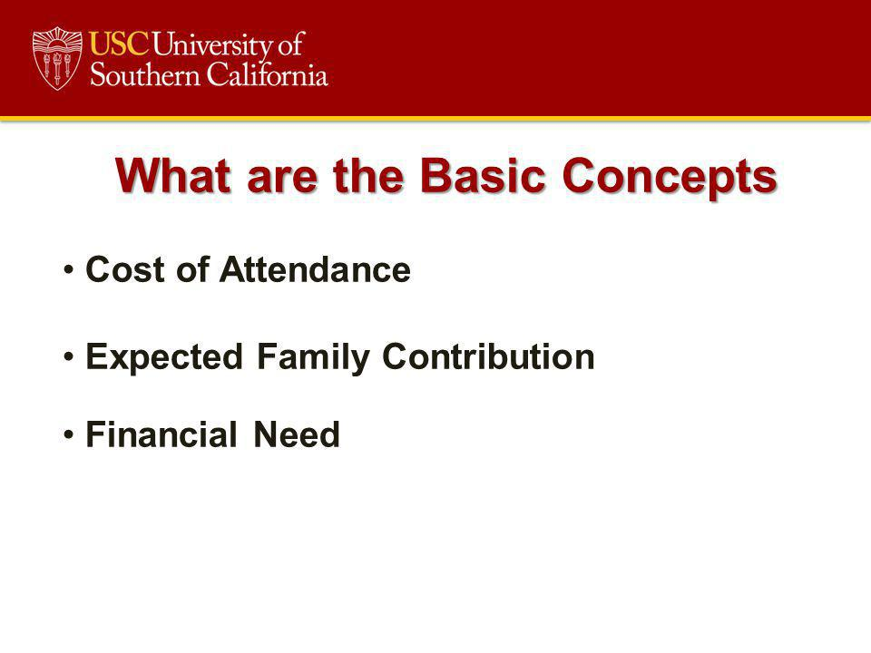 What are the Basic Concepts Cost of Attendance Expected Family Contribution Financial Need