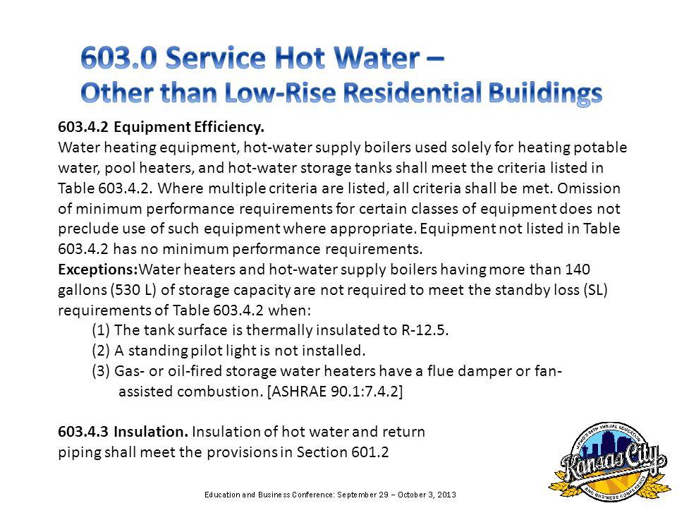 603.4.2 Equipment Efficiency.