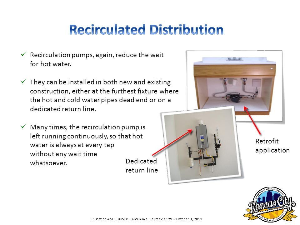 Recirculation pumps, again, reduce the wait for hot water.