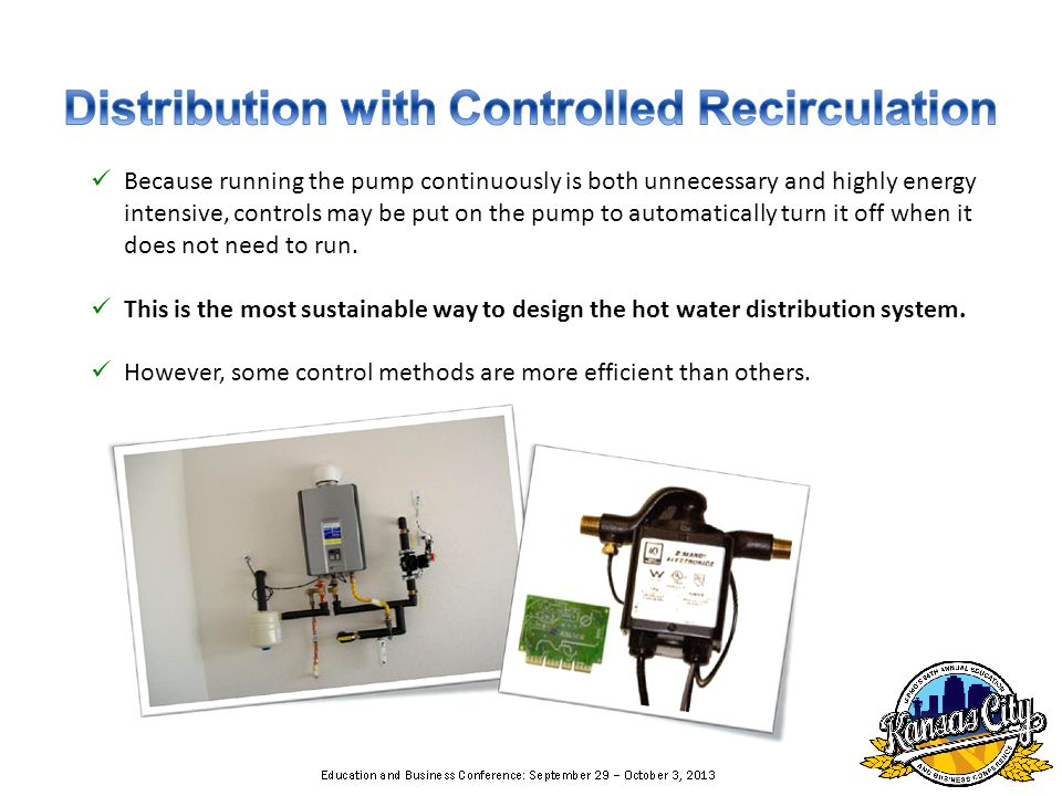 Because running the pump continuously is both unnecessary and highly energy intensive, controls may be put on the pump to automatically turn it off wh