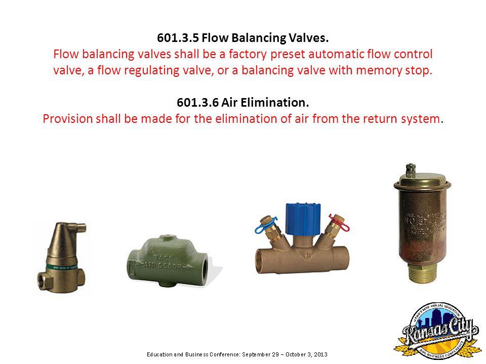 601.3.5 Flow Balancing Valves.