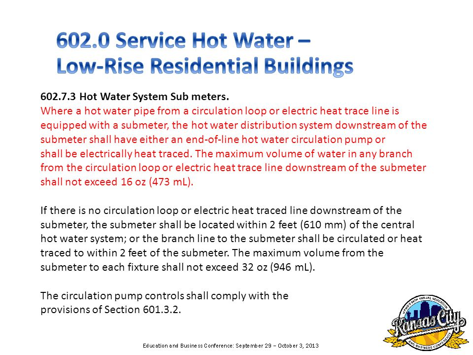 602.7.3 Hot Water System Sub meters.