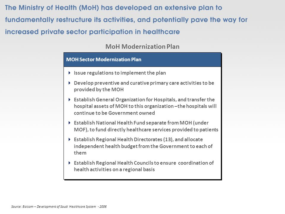 MoH Modernization Plan MOH Sector Modernization Plan Issue regulations to implement the plan Develop preventive and curative primary care activities to be provided by the MOH Establish General Organization for Hospitals, and transfer the hospital assets of MOH to this organization –the hospitals will continue to be Government owned Establish National Health Fund separate from MOH (under MOF), to fund directly healthcare services provided to patients Establish Regional Health Directorates (13), and allocate independent health budget from the Government to each of them Establish Regional Health Councils to ensure coordination of health activities on a regional basis Issue regulations to implement the plan Develop preventive and curative primary care activities to be provided by the MOH Establish General Organization for Hospitals, and transfer the hospital assets of MOH to this organization –the hospitals will continue to be Government owned Establish National Health Fund separate from MOH (under MOF), to fund directly healthcare services provided to patients Establish Regional Health Directorates (13), and allocate independent health budget from the Government to each of them Establish Regional Health Councils to ensure coordination of health activities on a regional basis Source: Balsam – Development of Saudi Healthcare System - 2006
