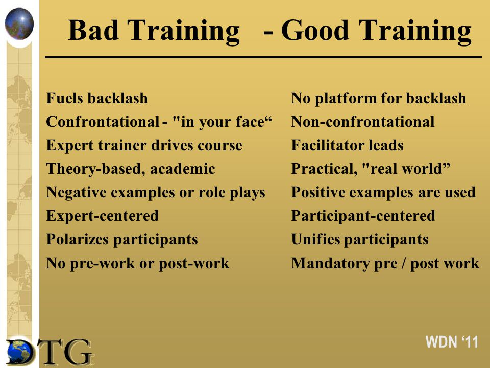 WDN 11 Bad Training- Good Training Fuels backlashNo platform for backlash Confrontational - in your faceNon-confrontational Expert trainer drives courseFacilitator leads Theory-based, academicPractical, real world Negative examples or role playsPositive examples are used Expert-centeredParticipant-centered Polarizes participantsUnifies participants No pre-work or post-workMandatory pre / post work
