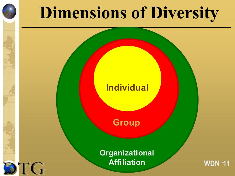 WDN 11 Dimensions of Diversity Indivi dual Organizational Affiliation Group Individual