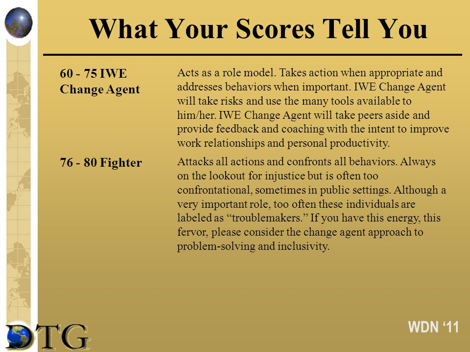 WDN 11 What Your Scores Tell You 60 - 75 IWE Change Agent Acts as a role model. Takes action when appropriate and addresses behaviors when important.