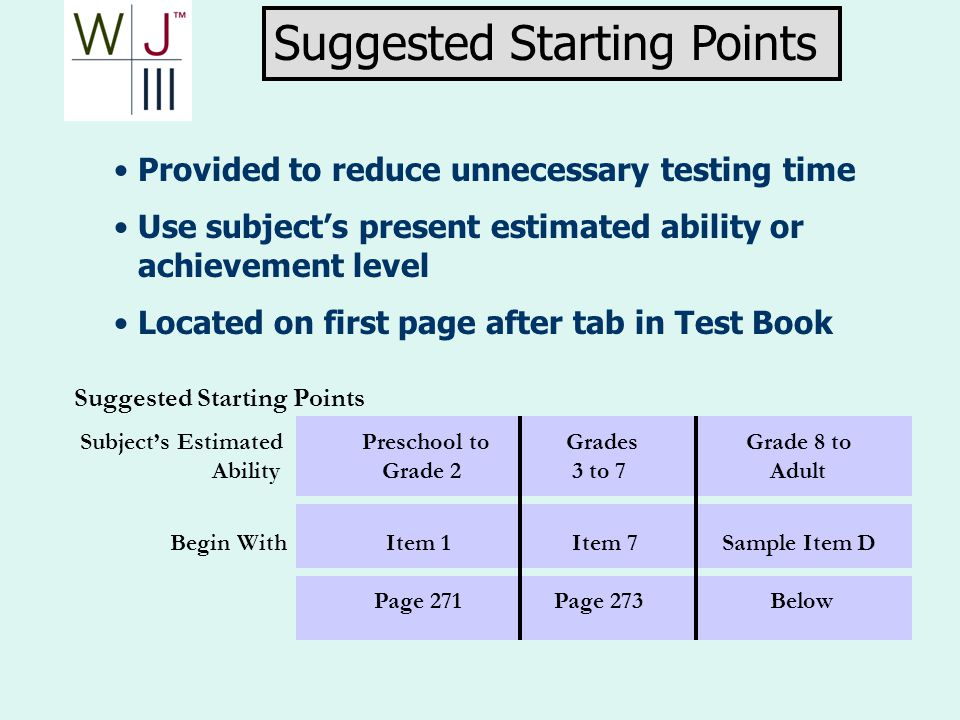 Provided to reduce unnecessary testing time Use subjects present estimated ability or achievement level Located on first page after tab in Test Book S
