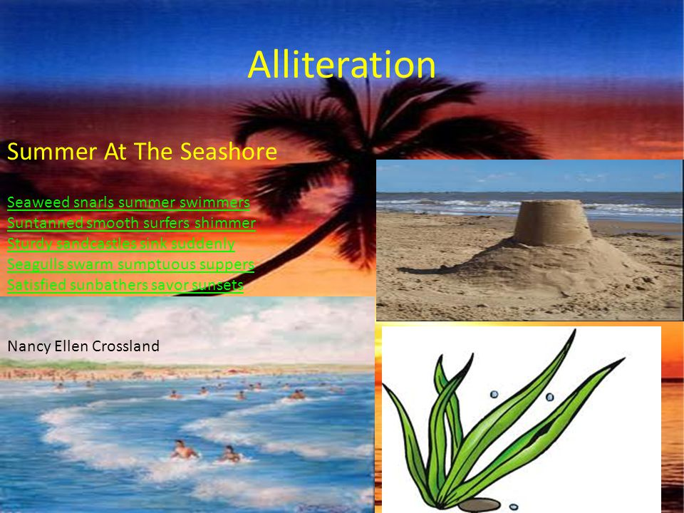 Alliteration Seaweed snarls summer swimmers Suntanned smooth surfers shimmer Sturdy sandcastles sink suddenly Seagulls swarm sumptuous suppers Satisfi