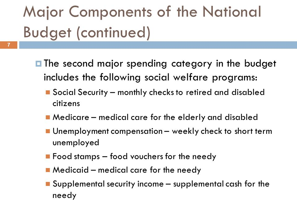 Major Components of the National Budget (continued) The second major spending category in the budget includes the following social welfare programs: S