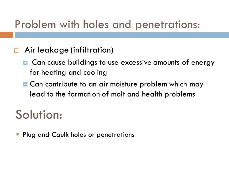 Problem with holes and penetrations: Air leakage (infiltration) Can cause buildings to use excessive amounts of energy for heating and cooling Can con