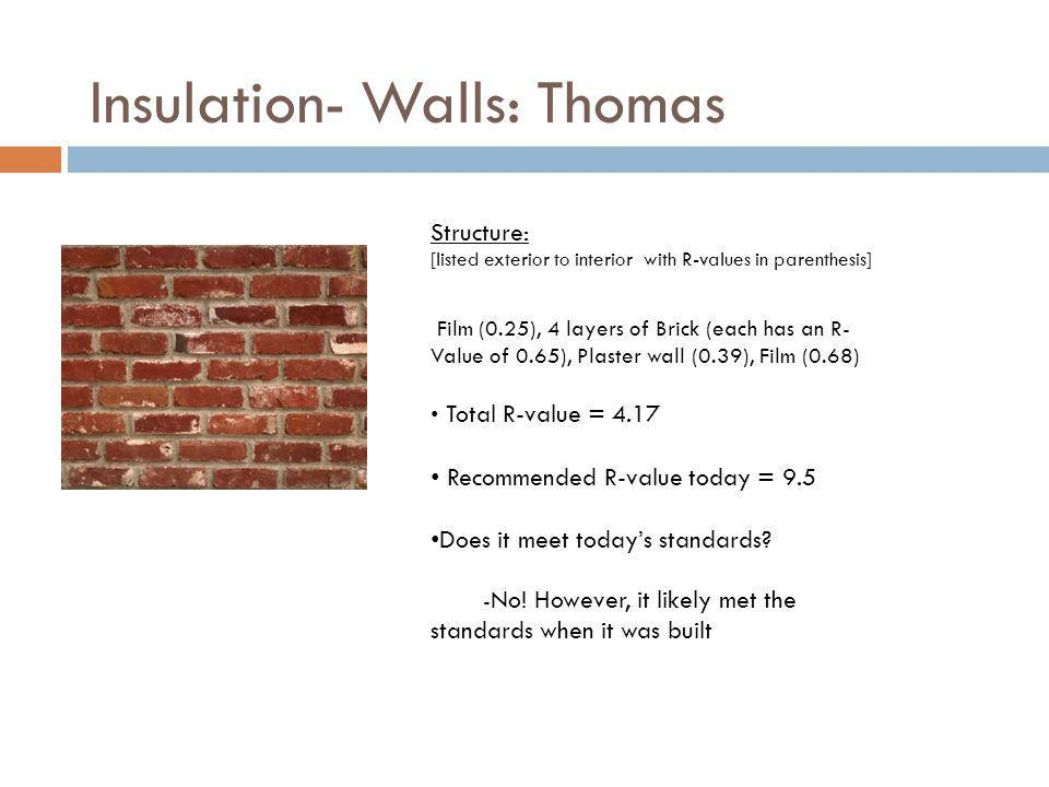 Insulation- Walls: Thomas Film (0.25), 4 layers of Brick (each has an R- Value of 0.65), Plaster wall (0.39), Film (0.68) Total R-value = 4.17 Recomme