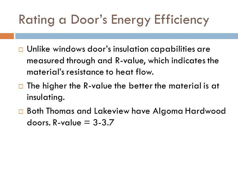 Rating a Doors Energy Efficiency Unlike windows doors insulation capabilities are measured through and R-value, which indicates the materials resistan
