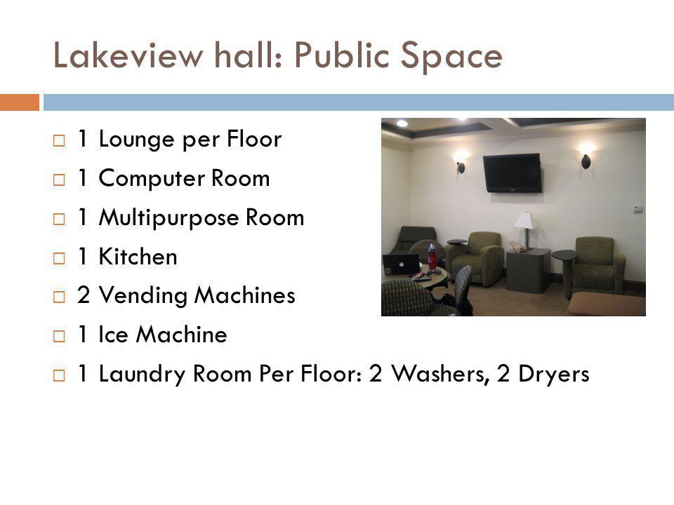 Lakeview hall: Public Space 1 Lounge per Floor 1 Computer Room 1 Multipurpose Room 1 Kitchen 2 Vending Machines 1 Ice Machine 1 Laundry Room Per Floor