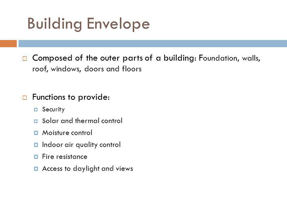 Building Envelope Composed of the outer parts of a building: F oundation, walls, roof, windows, doors and floors Functions to provide: Security S olar
