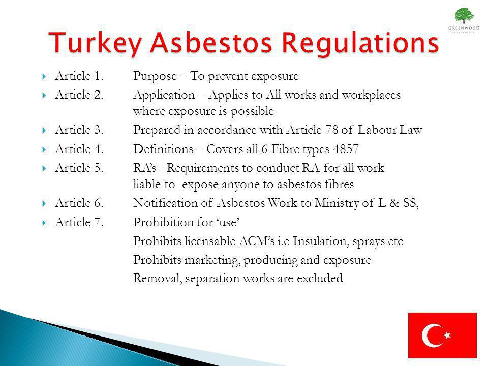 Article 8 Prevention of exceeding the Limit Values or Control Limit (Control Measures) Article 9.Asbestos Measurements (Samples; Air Monitoring) Article 10.Limit Value; or Control Limit Article 11.Exceeding Limit Value Article 12.Demolition; Maintenance and Repair Work Article 13.Demolition and Removal Works Article 14.