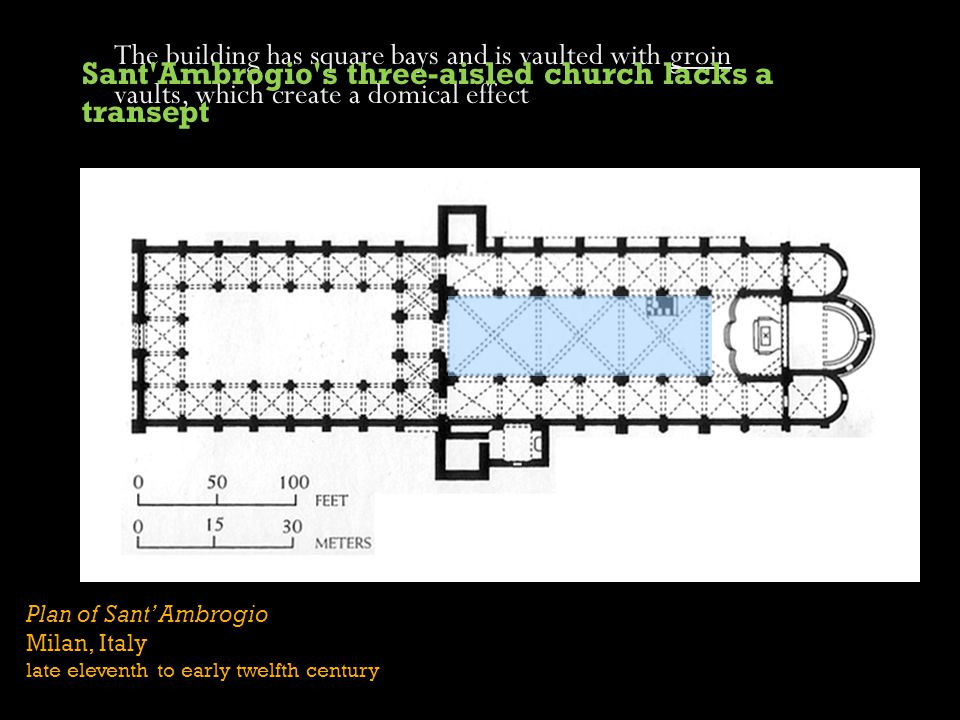 Plan of Sant Ambrogio Milan, Italy late eleventh to early twelfth century The building has square bays and is vaulted with groin vaults, which create