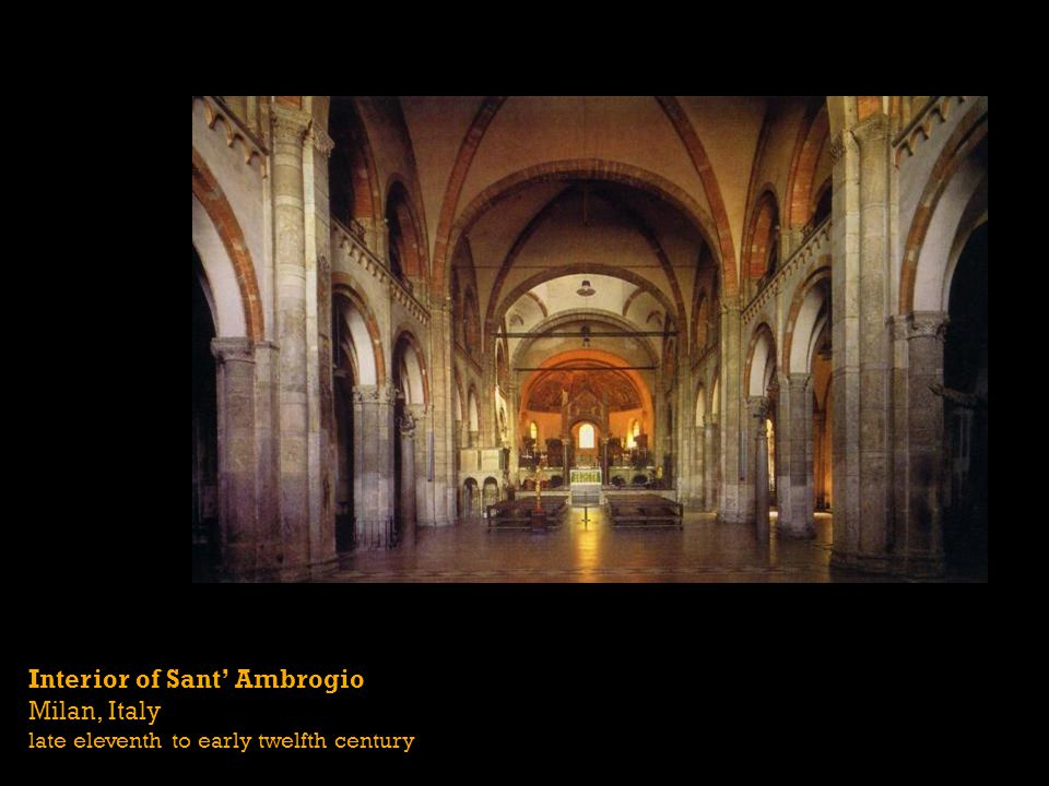 Interior of Sant Ambrogio Milan, Italy late eleventh to early twelfth century