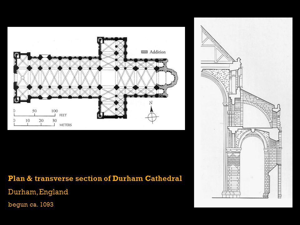 Plan & transverse section of Durham Cathedral Durham, England begun ca. 1093