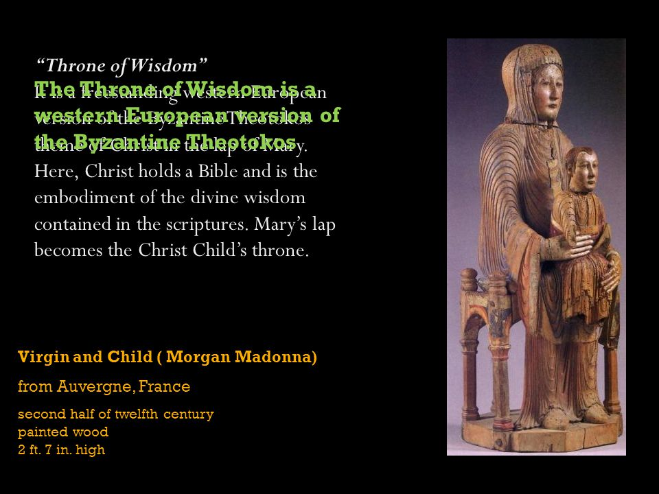 Virgin and Child ( Morgan Madonna) from Auvergne, France second half of twelfth century painted wood 2 ft.
