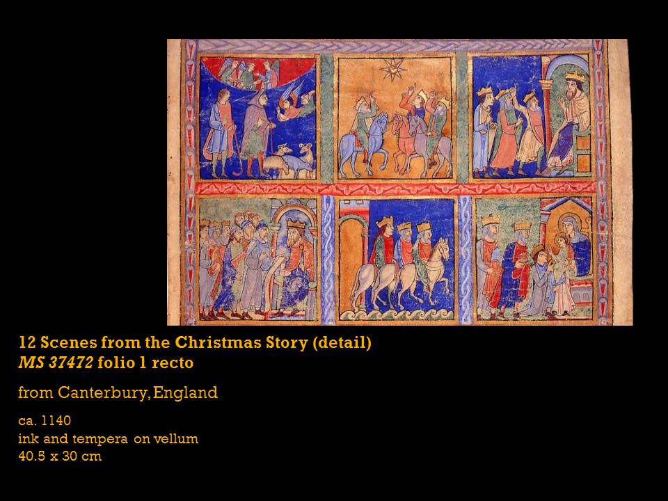12 Scenes from the Christmas Story (detail) MS 37472 folio 1 recto from Canterbury, England ca.