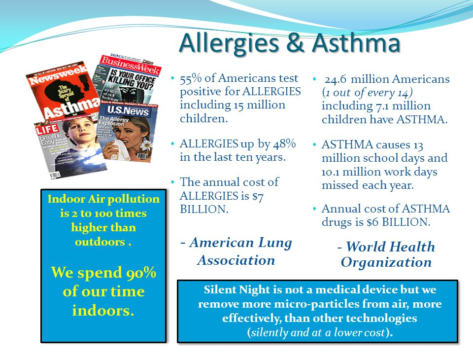 Allergies & Asthma 24.6 million Americans (1 out of every 14) including 7.1 million children have A STHMA.