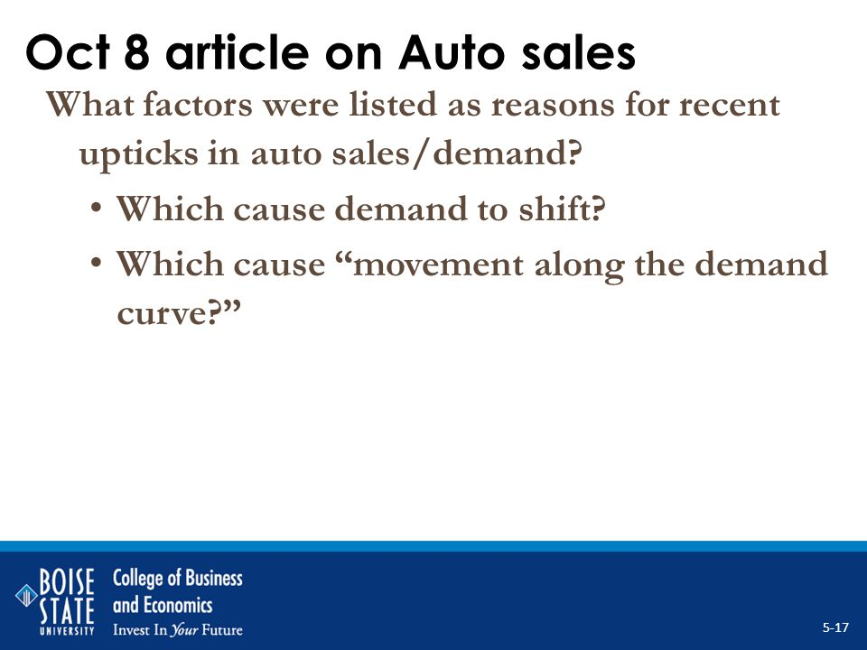 Oct 8 article on Auto sales What factors were listed as reasons for recent upticks in auto sales/demand? Which cause demand to shift? Which cause move