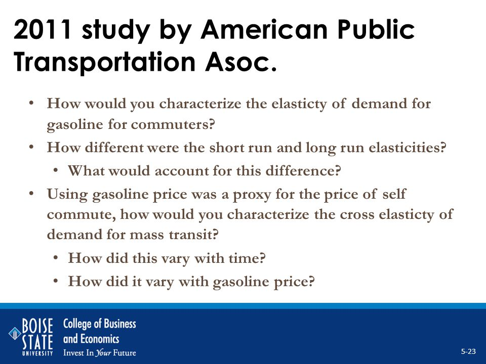 2011 study by American Public Transportation Asoc. How would you characterize the elasticty of demand for gasoline for commuters? How different were t