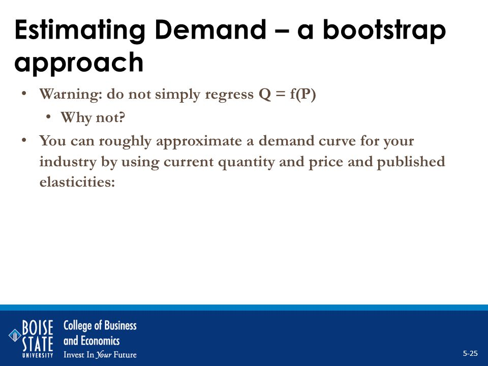 Estimating Demand – a bootstrap approach Warning: do not simply regress Q = f(P) Why not? You can roughly approximate a demand curve for your industry