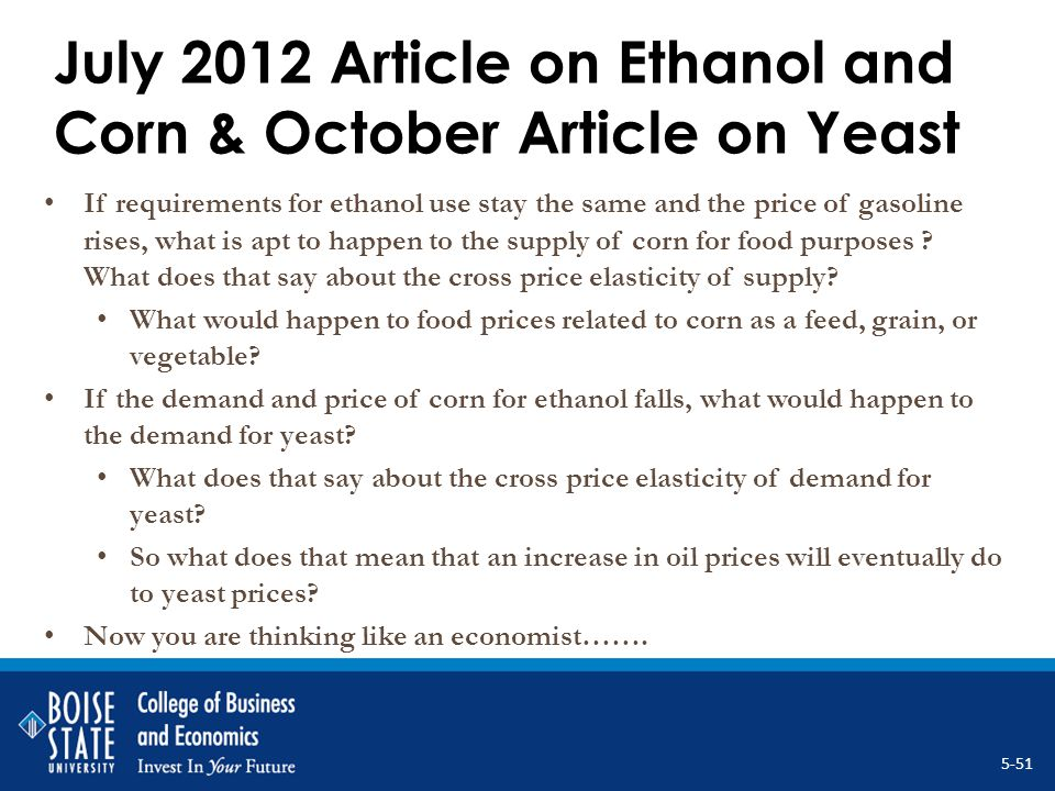 July 2012 Article on Ethanol and Corn & October Article on Yeast If requirements for ethanol use stay the same and the price of gasoline rises, what i