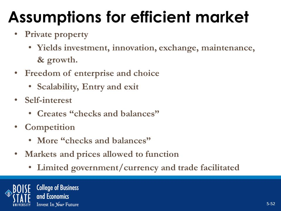Assumptions for efficient market Private property Yields investment, innovation, exchange, maintenance, & growth. Freedom of enterprise and choice Sca