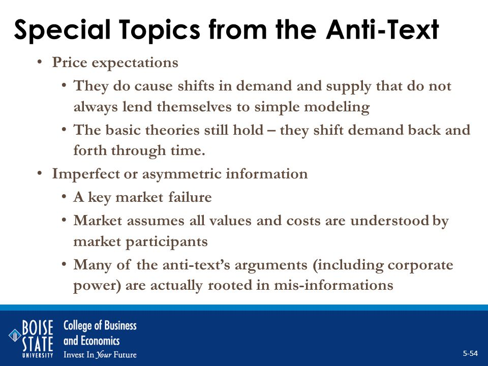 Special Topics from the Anti-Text Price expectations They do cause shifts in demand and supply that do not always lend themselves to simple modeling T