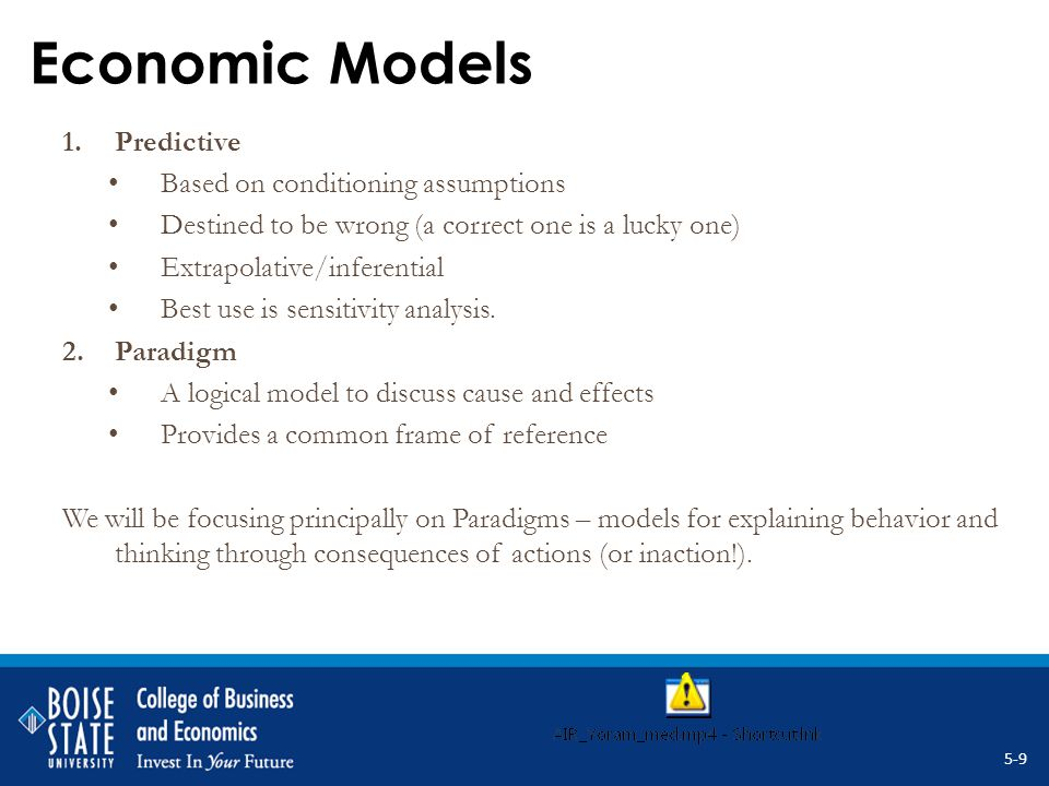 Economic Models 1.Predictive Based on conditioning assumptions Destined to be wrong (a correct one is a lucky one) Extrapolative/inferential Best use