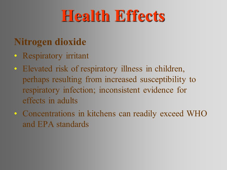 Health Effects Nitrogen dioxide Respiratory irritant Elevated risk of respiratory illness in children, perhaps resulting from increased susceptibility to respiratory infection; inconsistent evidence for effects in adults Concentrations in kitchens can readily exceed WHO and EPA standards
