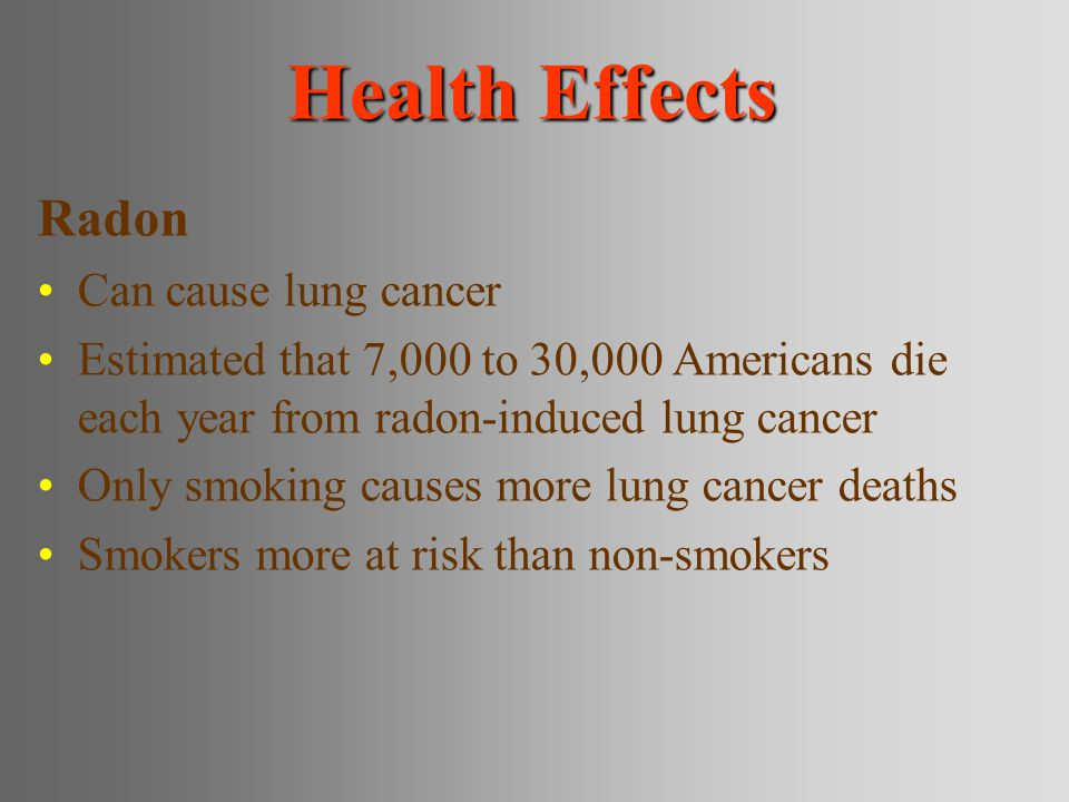 Health Effects Radon Can cause lung cancer Estimated that 7,000 to 30,000 Americans die each year from radon-induced lung cancer Only smoking causes more lung cancer deaths Smokers more at risk than non-smokers