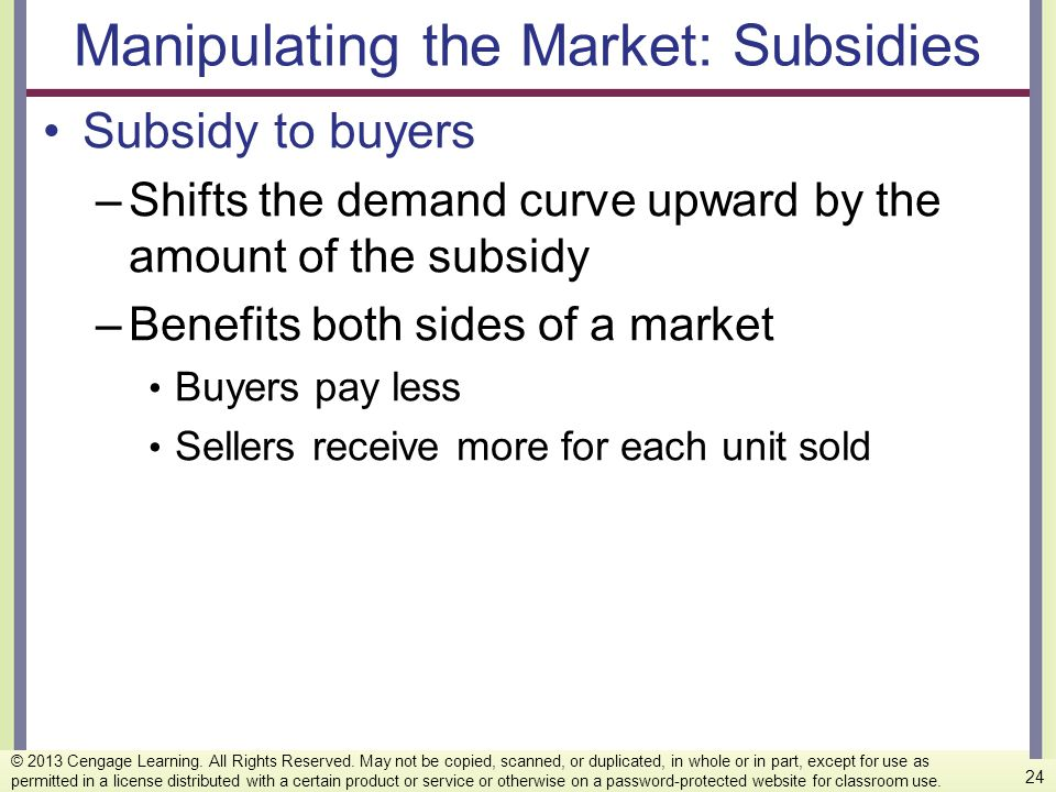 Manipulating the Market: Subsidies Subsidy to buyers –Shifts the demand curve upward by the amount of the subsidy –Benefits both sides of a market Buy