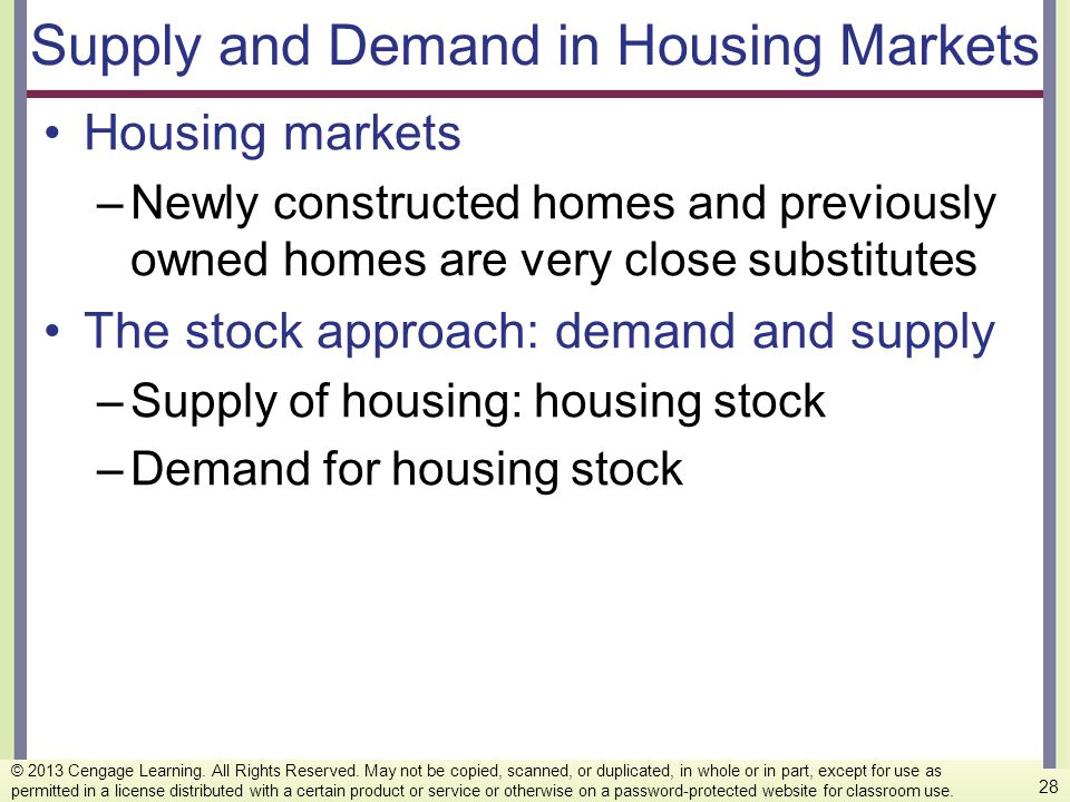Supply and Demand in Housing Markets Housing markets –Newly constructed homes and previously owned homes are very close substitutes The stock approach
