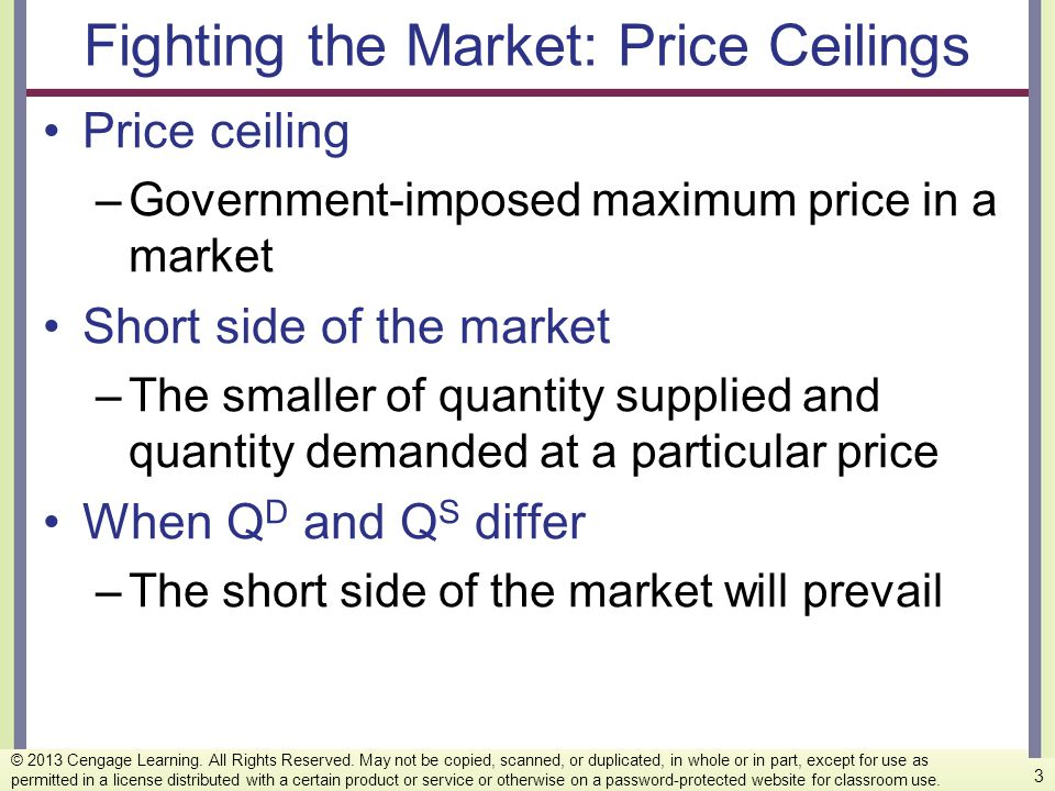 Fighting the Market: Price Ceilings Price ceiling –Government-imposed maximum price in a market Short side of the market –The smaller of quantity supp