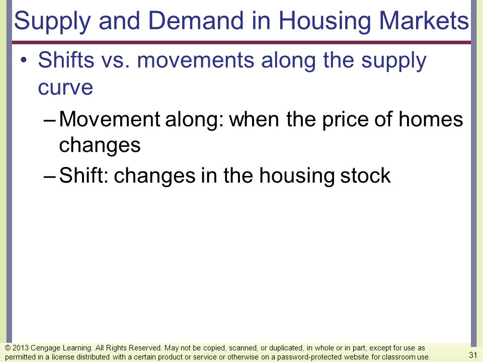 Supply and Demand in Housing Markets Shifts vs. movements along the supply curve –Movement along: when the price of homes changes –Shift: changes in t