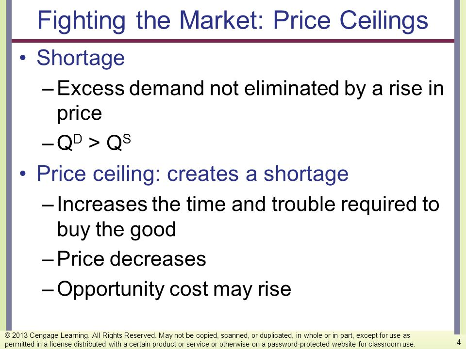 Fighting the Market: Price Ceilings Shortage –Excess demand not eliminated by a rise in price –Q D > Q S Price ceiling: creates a shortage –Increases