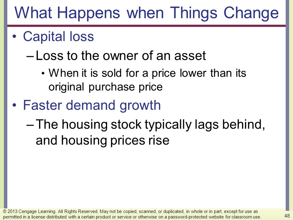 What Happens when Things Change Capital loss –Loss to the owner of an asset When it is sold for a price lower than its original purchase price Faster